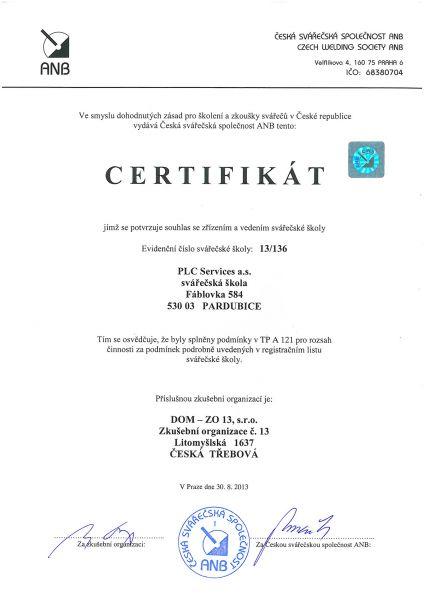 PLC certifikát