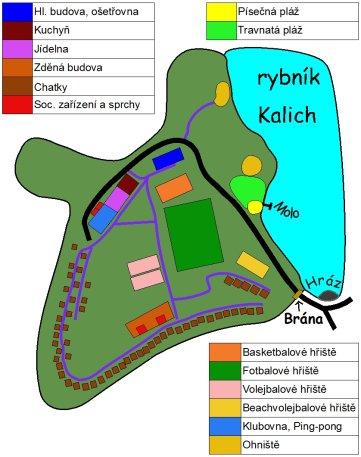 Plánek letního tábora Kalich
